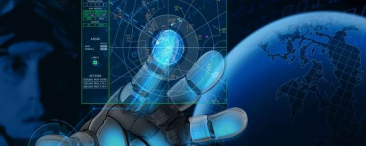 image of soldier with bionic hand touching a screen