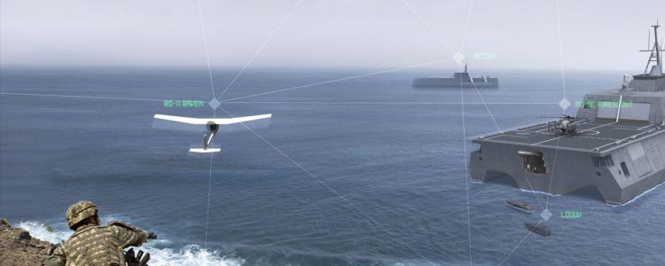 OV-1 graphic of US soldier deploying UAS over water
