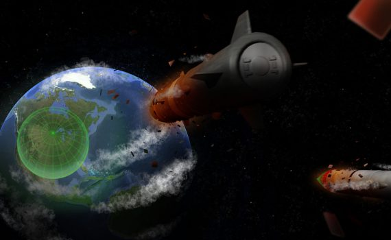 3D Image of missiles going towards the earth