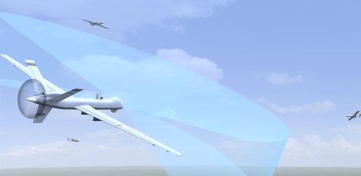 3D rendering image of Predator UAs scanning with commercial aircraft in background
