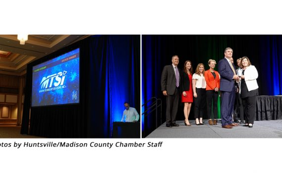 Madison County Chamber staff members on stage